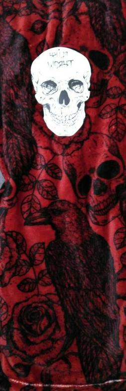 botanical sugar skull roses raven red luxe