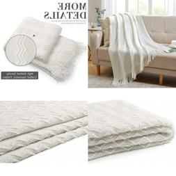 Bourina Throw Blanket Textured Solid Soft For Sofa Couch Dec