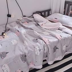 J-pinno Boys & Girls Cute Kitty Cats Muslin Quilted Comforte