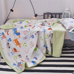 J-pinno Boys & Girls Cute Puppy Dogs Muslin Quilted Comforte