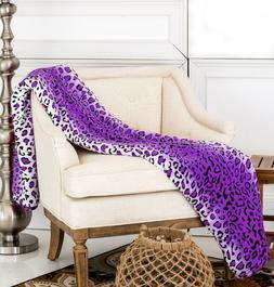 Brand New Soft Warm Throw Purple Leopard Printed Flannel Fle