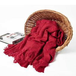 "Battilo Bright, Woven Throw Blanket, 50"" W x 60"" L, Red"