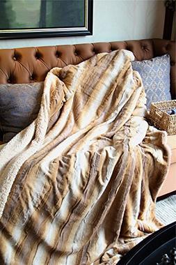 Tache 63 X 87 Inch Brown European Wolf Faux Fur Throw Blanke