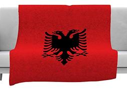 KESS InHouse Bruce Stanfield Flag of Albania Black Red Digit