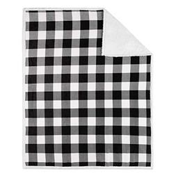 Safdie & Co. 50x60 Buffalo Plaid White and Black Ultra Soft