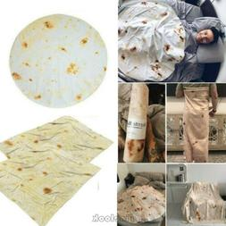 Burrito Blanket Throw Tortilla Texture Soft Fleece Super Bed