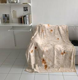 Burrito Blanket Throw Tortilla Texture Soft Fleece Super Bed