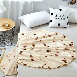 Burritos Tortilla Wrap Throw Blanket New Soft Giant Round Fo