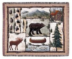 """Cabin Fever Moose Bear Lodge Tapestry Throw 50"""" x 60"""