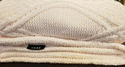 """Cable Knit Chenille DKNY Chunky Throw Blanket  50"""" X 60"""" Ivo"""