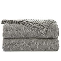 Cable Knit Cotton Gray Throw Blanket for Couch Sofa Beach Ch