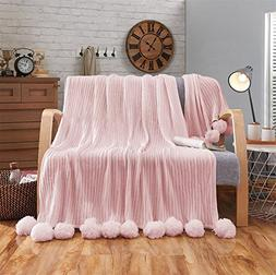 """Parall Cable Knit PomPoms Throw Blanket 2sizes 35"""" x 35""""/59"""""""