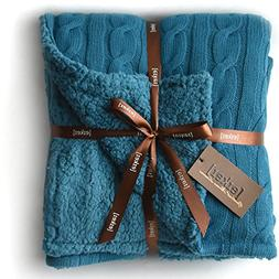 Cable Knit Sherpa Oversized Throw Reversible Blanket Faux Sh