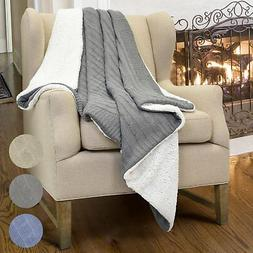 cable knit sherpa throws