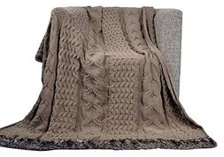 battilo Cable Knitted Luxury Chenille Throw Blanket with Fau