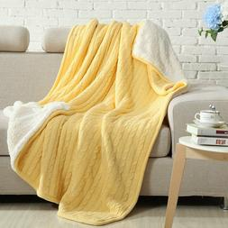NTBAY Cable Knitted Throw All Seasons Collection Warm Revers