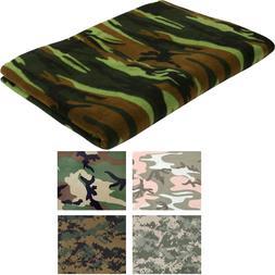 """Polar Fleece Camo Throw Blanket 60"""" x 80"""" Thick Warm Militar"""