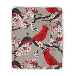 ALAZA Cardinal Peach Blossom and Butterfly Crystal Velvet Th