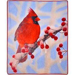 New Cardinal Photo Real Throw Blanket, 50x60 Christmas, Holi