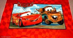 cars checkered border fleece panel fabric throw