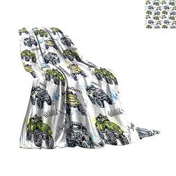 Cars Super Soft Thicken Blanket Hand Drawn Watercolored Mons
