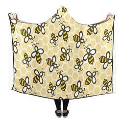 Artsadd Fashion Cartoon Honey Bees Soft Fleece Hooded Blanke