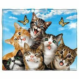 """Cats Selfie Fleece Throw Blanket Home """" Kitchen"""