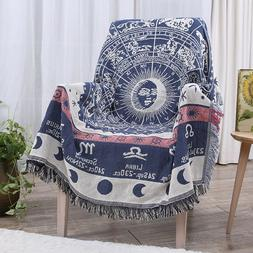 Chair Couch Woven Throw Blanket Double Sided 100% Cotton Kni