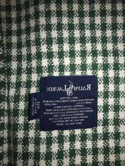 "Ralph Lauren Checked Throw Green and White 54"" x 72"" NWOT"