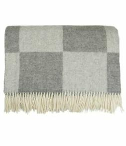 Checkered Wool Throw Blanket