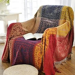 amorus Chenille Jacquard Tassels Throw Blankets for Bed Couc