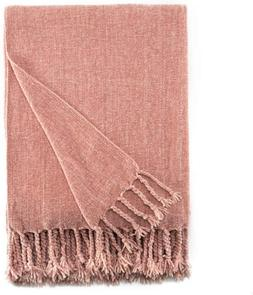 Bourina Chenille Throw Blanket with Decorative Fringe for Co