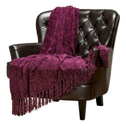 Chanasya Chenille Velvety Elegant Decorative Throw Blanket f