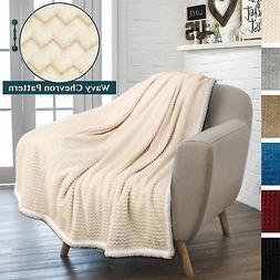 PAVILIA Deluxe Sherpa Fleece Chevron Throw Blanket for Couch