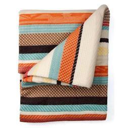 Pendleton Chimayo Stripe Cotton Throw Blanket, Coral, One Si