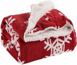 Bedsure Christmas Blanket Decoration Snowflake Throw Blanket