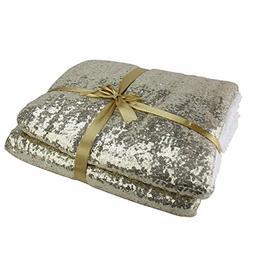 Northlight Christmas Glittering and White Throw Blanket, Gol