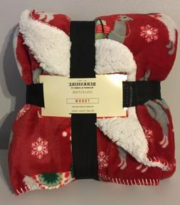 Berkshire Blanket Christmas Holiday Llama Fleece Sherpa Thro