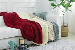 Cheer Collection Chunky Cable Knit Throw Blanket Ultra Plush
