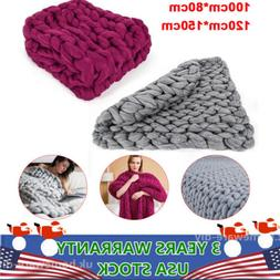 Chunky Knitted Thick Crochet Blanket Hand Yarn Bulky Knit Th