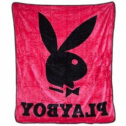 Playboy Classic Bunny Pink Rose Queen Size Plush Throw Blank