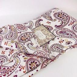 Coastal Paisley Quilted Throw Blanket red burgundy ivory sum