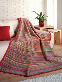IBENA Colorful Sunset Stripe Cotton Blend Throw Blanket