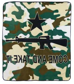 Come and Take it Blanket Rifle Throw Blanket Camouflage Blan