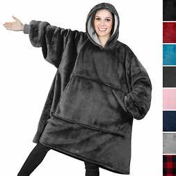 Comfy HOODIE SWEATSHIRT Wearable Blanket With Hood Sleeves L