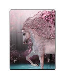 QH Cool Unicorn Printing Velvet Plush Throw Blanket Comfort