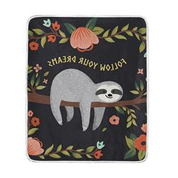 ALAZA Cooper girl Cartoon Sloth In Flowers Jungle Throw Blan
