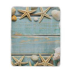 Cooper girl Tropical Beach Seashell Throw Blanket Soft Warm