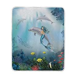 ALAZA Cooper Girl Underwater Dolphins and Mermaid Throw Blan