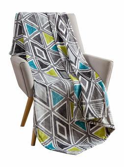 Cosmopolitan Decorative Throw Blanket: Soft Plush Modern Geo